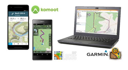 Fernwartung Garmin Basecamp, Komoot, Locus Map