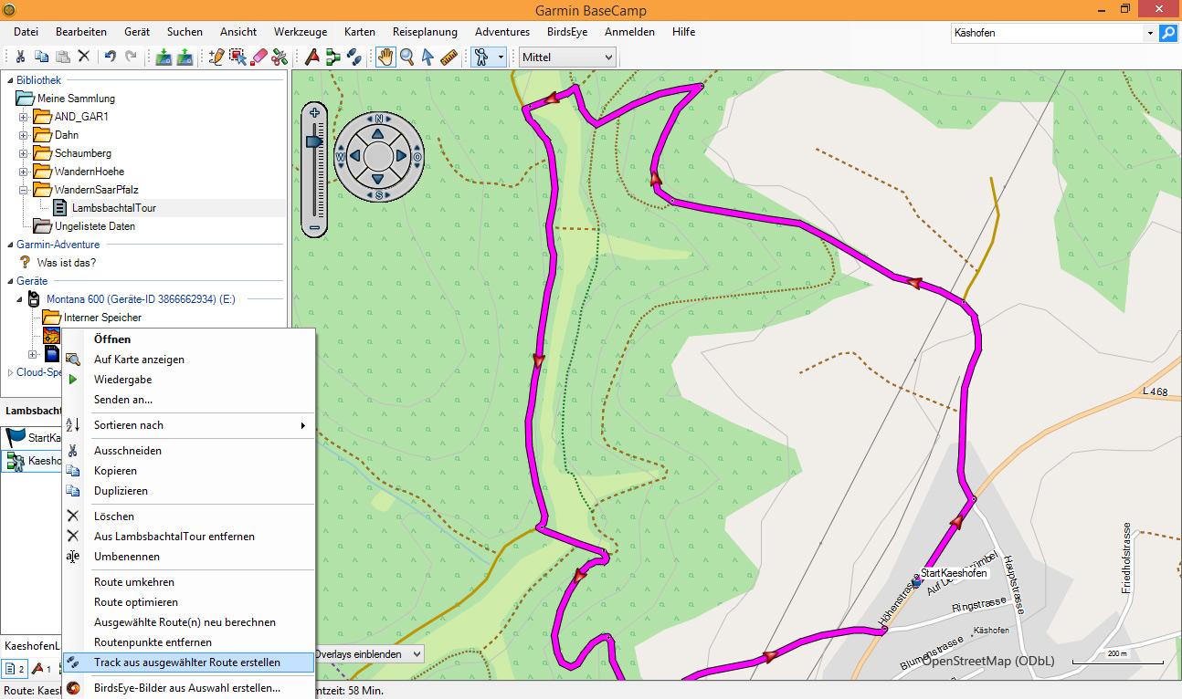 BaseCamp Route Senden