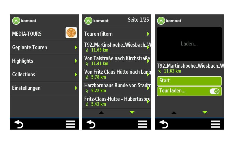 Komoot-App für Garmin-GPS