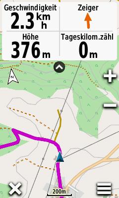 Track-Navigation auf dem Oregon 600