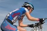 Agnes Naumann beim ersten Anstieg schon in Front