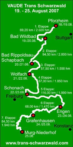 7 Etappen zwischen Pforzheim und Murg-Niederhof am Hochrhein nahe der Schweizer Grenze