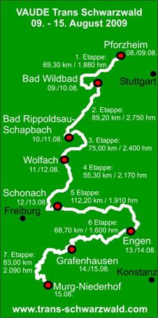 VAUDE Trans Schwarzwald: Streckenplan 2009