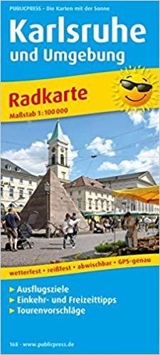Karlsruhe und Umgebung: Radkarte mit Ausflugszielen,