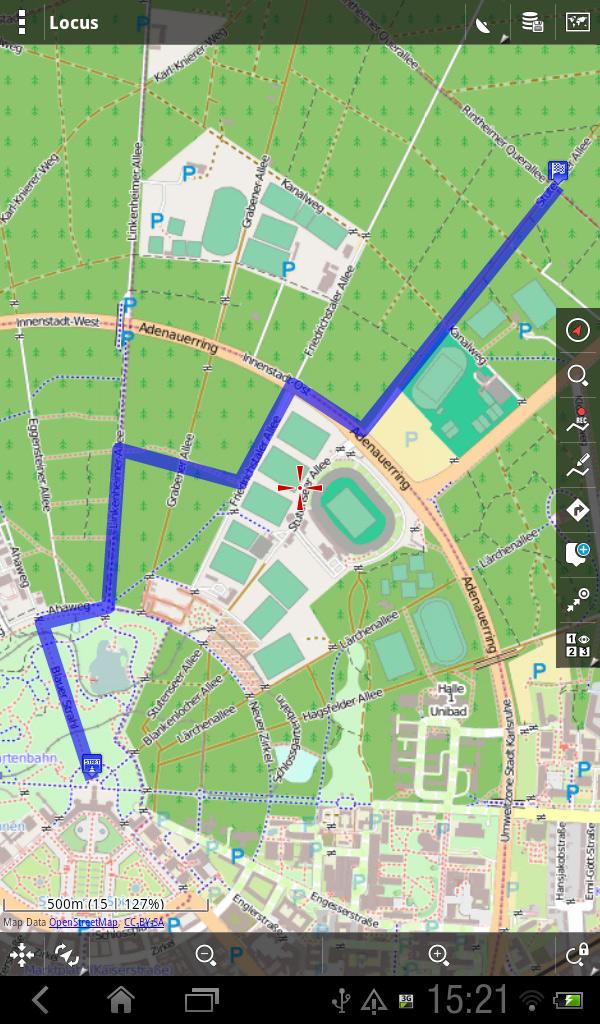 Route auf Locus/OSM